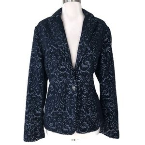 CAbi Navy Blue Jacquard Wool Blend Jacket 6 #109